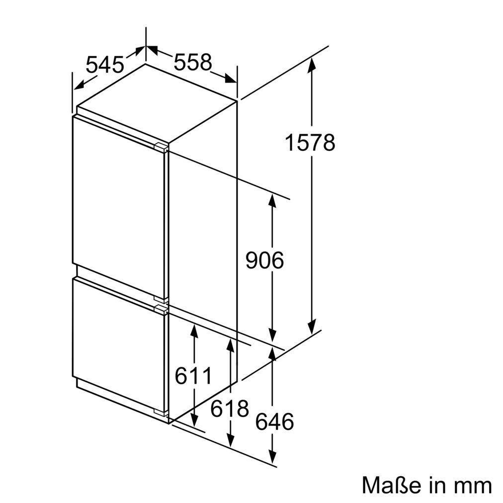 Bosch Fuldintegreret Køle-fryseskab – LowFrost – 158cm