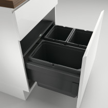 Naber Cox berøringsfrit affaldssystem med fuldt udtræk - 3 rum - lysegrå - 60 cm