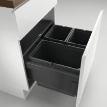 Naber Cox berøringsfrit affaldssystem med biolåg og fuldt udtræk - 3 rum - antracit - 60 cm