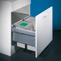 Naber Cox berøringsfrit affaldssystem med biolåg og fuldt udtræk - 3 rum - lysegrå - 60 cm