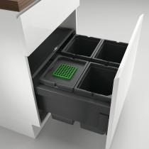 Naber Cox berøringsfrit affaldssystem med fuldt udtræk - 4 rum - antracit - 60 cm