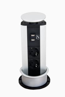 Evoline Powerport alu-låg - 2 strøm- og 2 USB ladestik - DK stik